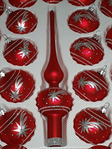 39 tlg glas weihnachtskugeln set in classic rot silber komet christbaumkugeln weihnachtsschmuck. Black Bedroom Furniture Sets. Home Design Ideas