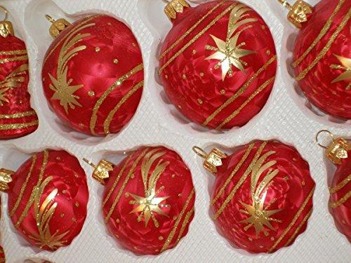 Christbaumkugeln Glas Rot Gold.39 Tlg Glas Weihnachtskugeln Set In Ice Rot Gold Komet
