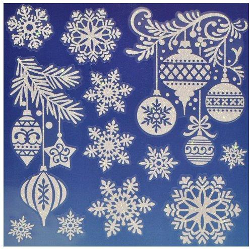 fensterbild weihnachten mit glitzer weihnachtsmann schneemann weihnachtskugeln rentier. Black Bedroom Furniture Sets. Home Design Ideas